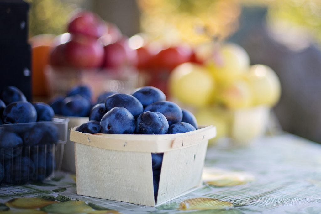 blueberries, plums and grapes