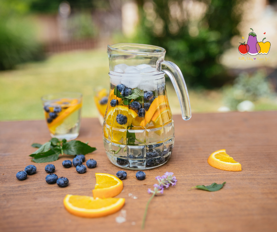 Infused water with blueberries, oranges, mint and lavender.