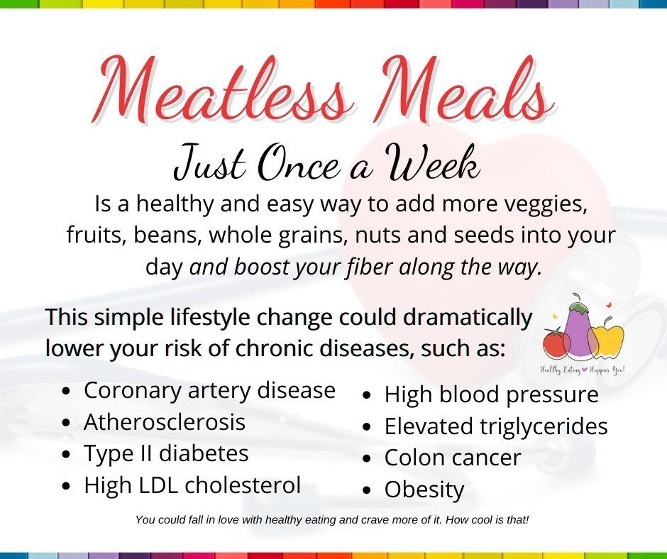 Eating meatless meals just once a week is a healthy and easy way to add more plant-based foods into your day and boost your fiber along the way.